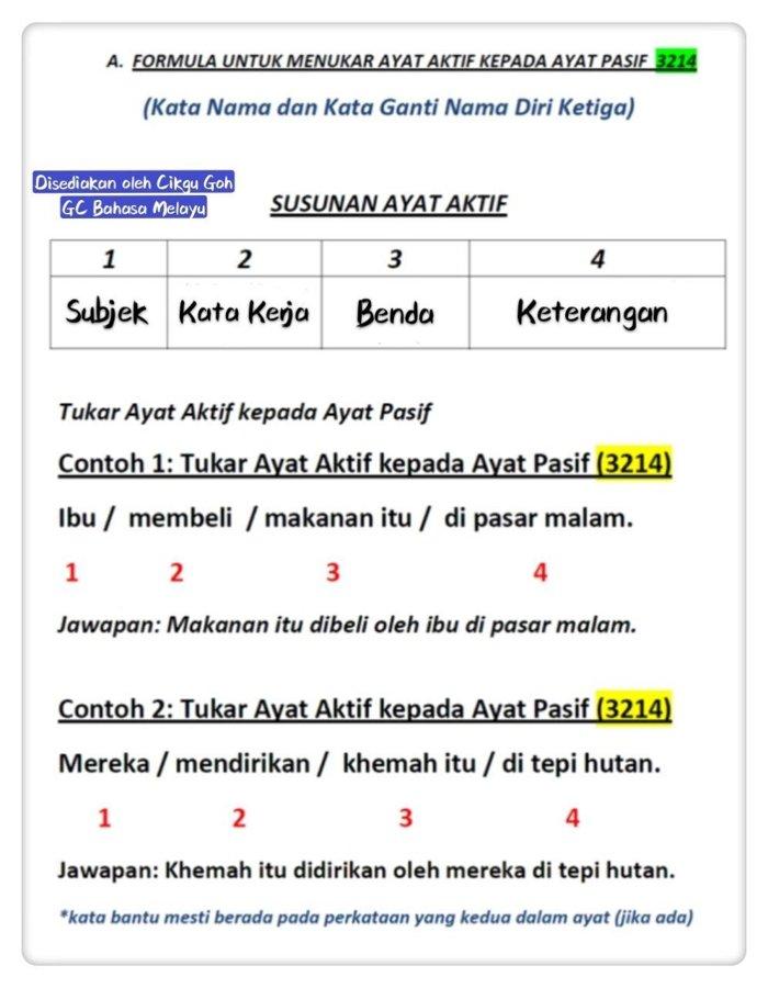 Formula Untuk Tukar Ayat Aktif Kepada Ayat Pasif A 3214 B 3124 Ayat Aktif Ayat Pasif Cikgugoh